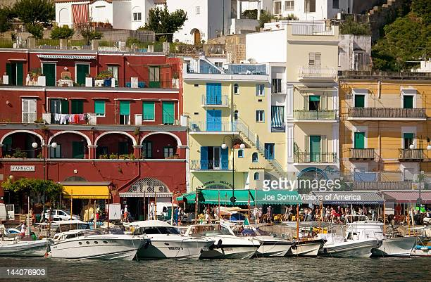 Marina Grande Harbor in the City of Capri an Italian island off the Sorrentine Peninsula on the south side of Gulf of Naples in the region of...