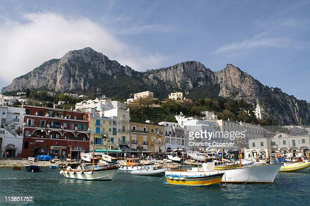 Marina Grande on the tiny island of Capri is in the Tyrrhenian Sea on the south side of the Gulf of Naples in Southern Italy