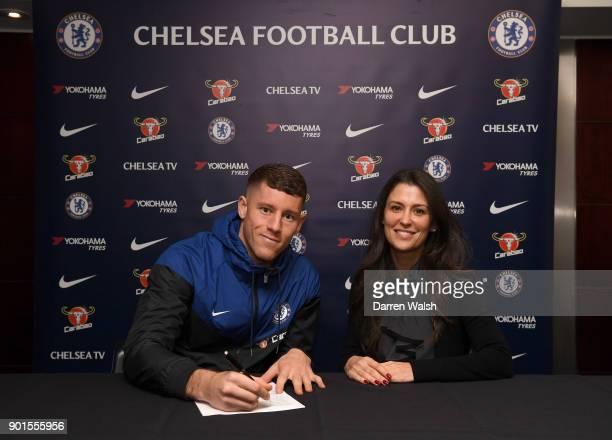 Marina Granovskaia of Chelsea with new signing Ross Barkley at Stamford Bridge on January 5 2018 in London England