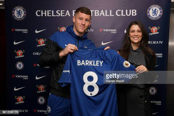 Marina Granovskaia of Chelsea with new signing Ross Barkley at Stamford Bridge on January 5 2018 in London England
