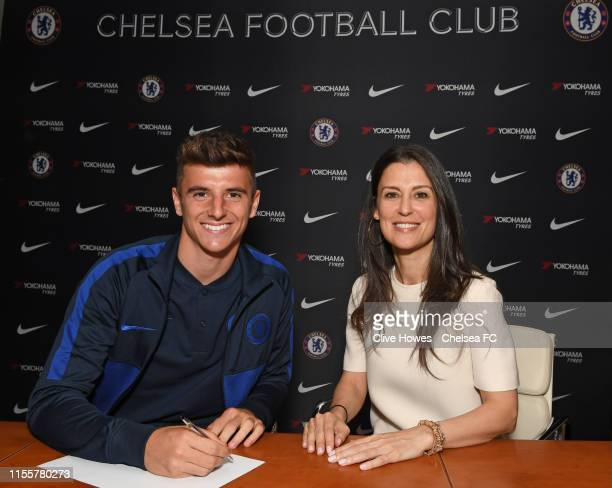 Marina Granovskaia with Mason Mount as he signs a new contract at Chelsea at Stamford Bridge on July 14 2019 in London England