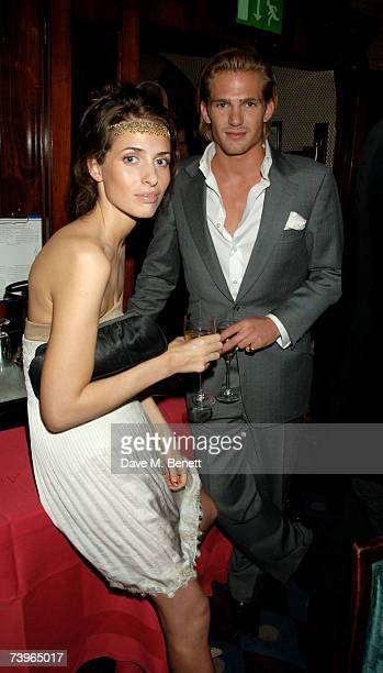 Marina Hanbury and guest attend private dinner and party hosted by fashion chain Issa at Annabel's on April 24 2007 in London England