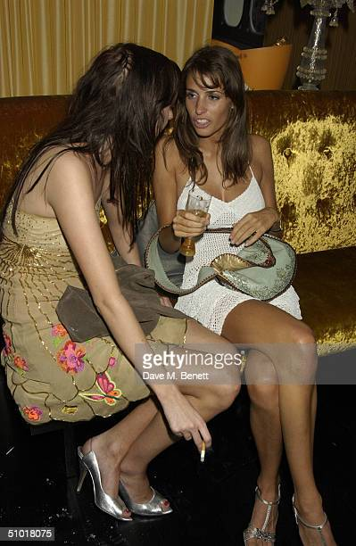 Marina Hanbury and Sophia Hesketh attend the Tatler Magazine's Summer Party at Baglioni Hotel July 1 2004 in Kensington London England