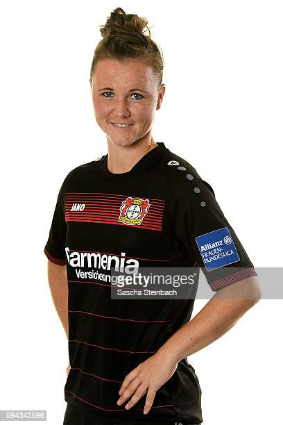 Marina Hegering of Bayer 04 Leverkusen poses during the Allianz Women's Bundesliga Club Tour on August 22 2016 in Leverkusen Germany
