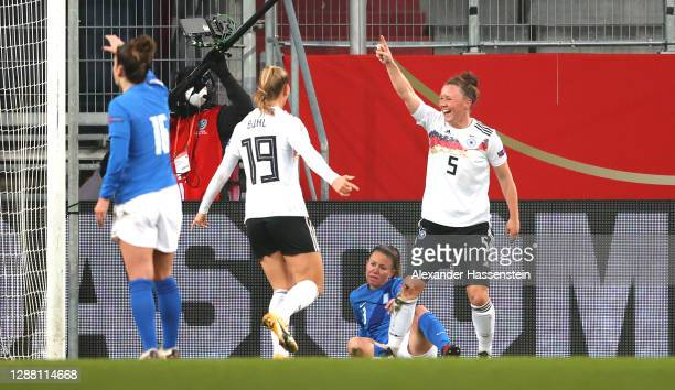 Marina Hegering of Germany celebrates with Klara Buhl after scoring her sides first goal during the UEFA Women's EURO 2022 qualifier match between...