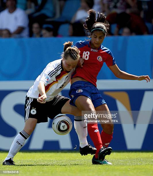 Marina Hegering of Germany in action with Ana Aguilar of Costa Rica during the FIFA U20 Women's World Cup Group A match between Germany and Costa...