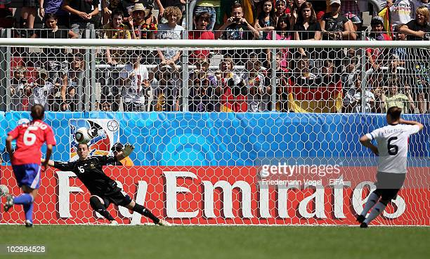 Marina Hegering of Germany misses a penalty during the FIFA U20 Women's World Cup Group A match between France and Germany at the FIFA U20 Women's...