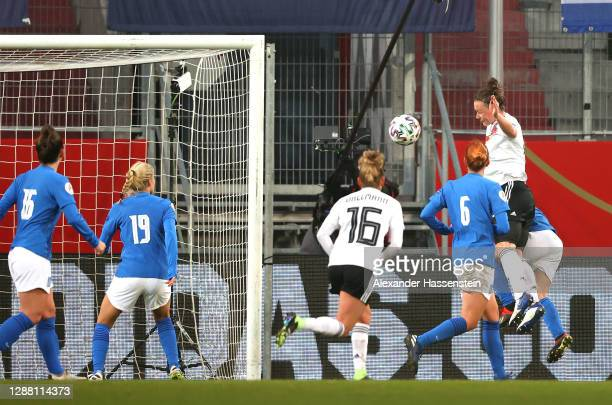 Marina Hegering of Germany scores her sides first goal during the UEFA Women's EURO 2022 qualifier match between Germany Women and Greece Women at...