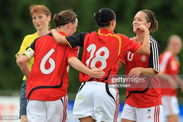 Marina Hegering, Selina Wegner and Francesca Weber of Germany celebrate during the Women's U19 European Championship match between Scotland and...