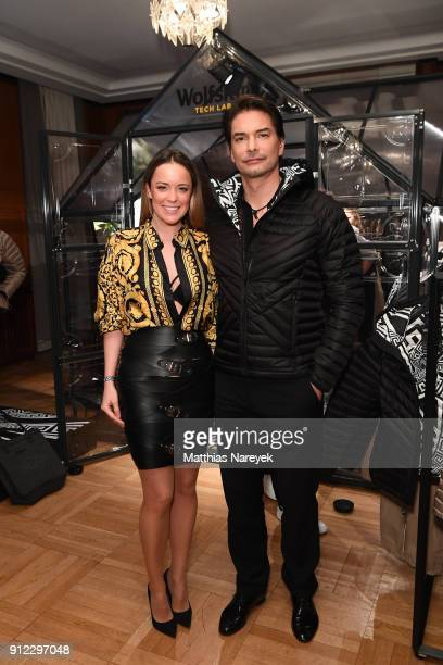 Marina Hoermanseder and Marcus Schenkenberg attend the Wolfskin Tech Lab x Gianni Versace retrospective opening event at Kronprinzenpalais on January...