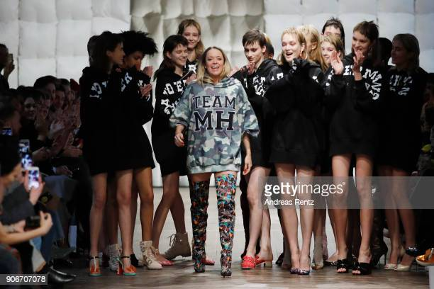Marina Hoermanseder and models are applauded on the catwalk at the Marina Hoermanseder Defile during 'Der Berliner Salon' AW 18/19 at Von Greifswald...