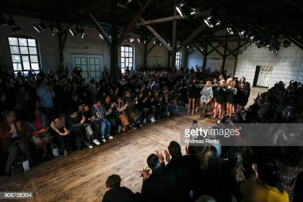 Marina Hoermanseder and models are applauded on the catwalk at the Marina Hoermanseder Defile during 'Der Berliner Salon' AW 18/19 at Von Greifswald...