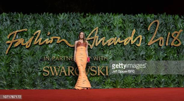 Marina Hoermanseder arrives at The Fashion Awards 2018 In Partnership With Swarovski at Royal Albert Hall on December 10, 2018 in London, England.