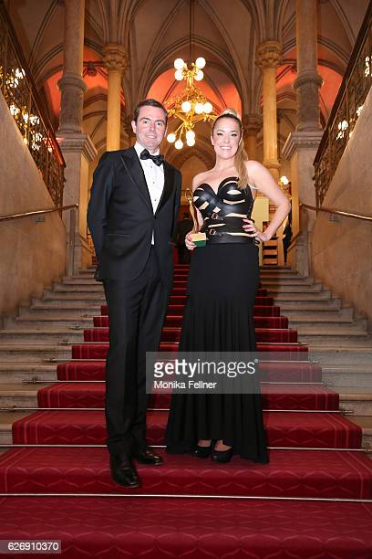 Marina Hoermanseder presents her award with Chris Collet at the Look Women of the Year Awards at City Hall on November 30, 2016 in Vienna, Austria.