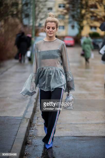 Marina Ilic wearing sheer top is seen outside Marina Hoermanseder during the Berlin Fashion Week January 2018 on January 18 2018 in Berlin Germany
