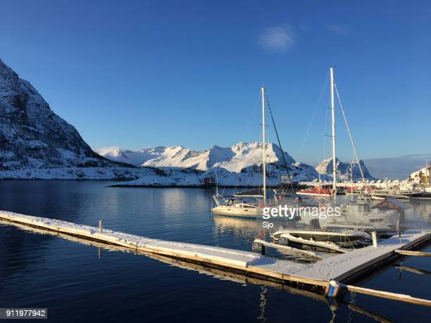 Marina in a bay in Northern Norway on a winter day