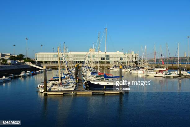 marina in belem, with altis hotel in the background - bom sucesso dock, formerly used for seaplanes - lisbon, portugal - sucesso stock pictures, royalty-free photos & images