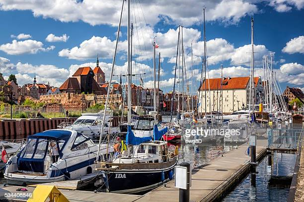 marina in gdansk, poland - motlawa river stock pictures, royalty-free photos & images