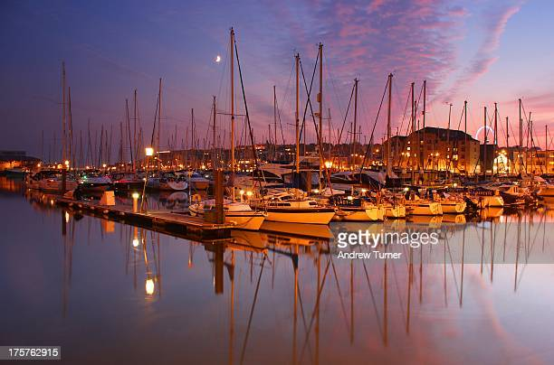 marina in mauve - plymouth stock photos and pictures