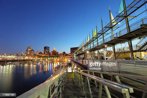 marina in the old port of montreal - vieux montréal stock pictures, royalty-free photos & images