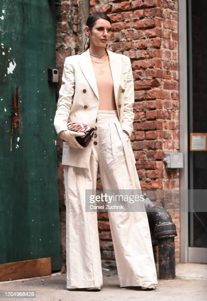 Marina Ingvarsson is seen wearing a white jacket white pants outside the Hellessy show during New York Fashion Week A/W20 on February 08 2020 in New...