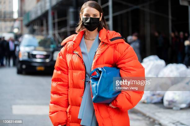 Marina Ingvarsson is seen wearing face mask outside Michael Kors during New York Fashion Week Fall / Winter 2020 on February 12, 2020 in New York...