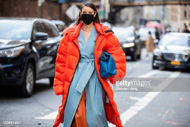 Marina Ingvarsson is seen wearing face mask outside Michael Kors during New York Fashion Week Fall / Winter 2020 on February 12 2020 in New York City