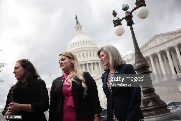 Marina Jackman, Global War on Terrorism Memorial Foundation President, Gold Star spouse Jane Horton, and Sen. Joni Ernst attend a press conference...