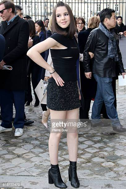 Marina Kaye arrives at the Christian Dior show as part of the Paris Fashion Week Womenswear Fall/Winter 2016/2017 on March 4 2016 in Paris France