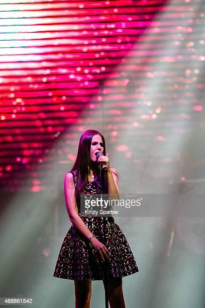 Marina Kaye performs during the 'Leurs Voix Pour L'Espoir 2015' Concert at L'Olympia on September 17 2015 in Paris France