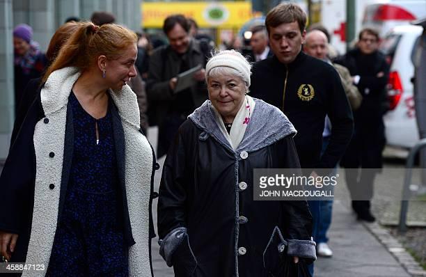 Marina Khodorkovsky mother of Russian former oil tycoon and Kremlin critic Mikhail Khodorkovsky is accompanied by the Wall Museum's director...