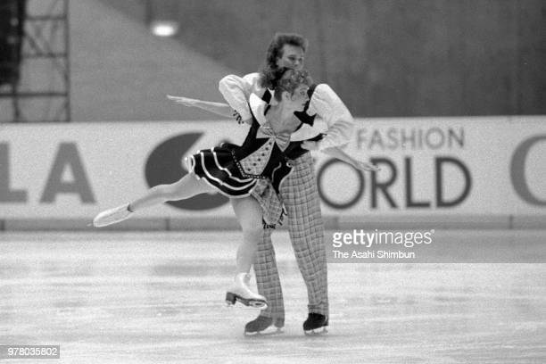 Marina Klimova and Sergei Ponomarenko of Soviet Union compete in the Ice Dance during the Figure Skating NHK Trophy at the Yoyogi National Gymnasium...