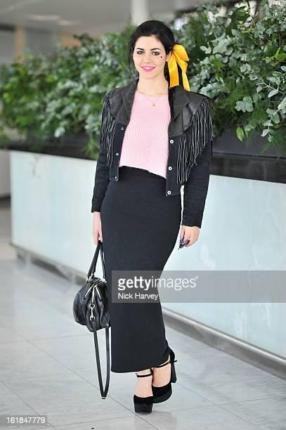Marina Lambrini Diamandis attends the Kinder Aggugini salon show during London Fashion Week Fall/Winter 2013/14 at on February 17 2013 in London...