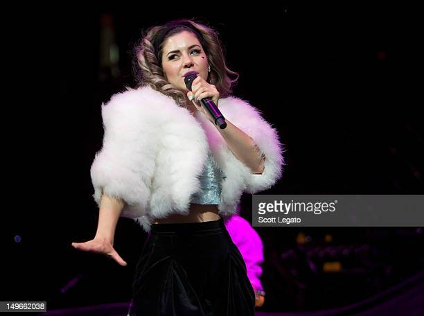 Marina Lambrini Diamandis of Marina and the Diamonds performs at The Palace of Auburn Hills on August 1 2012 in Auburn Hills Michigan