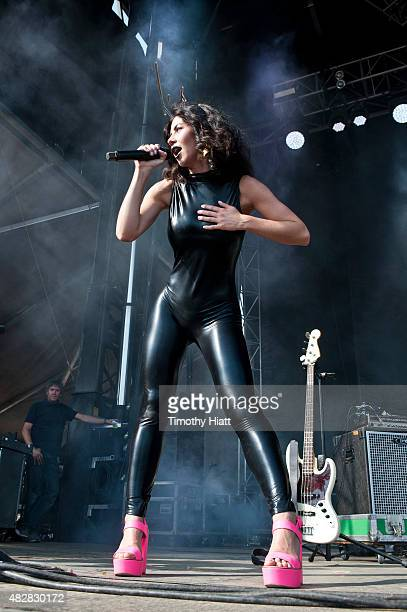 Marina Lambrini Diamandis of Marina and the Diamonds performs on day 3 of Lollapalooza at Grant Park on August 2 2015 in Chicago Illinois