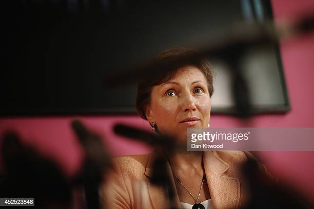 Marina Litvinenko answers questions from the media during a press conference on July 22, 2014 in London, England. The UK Home Secretary Theresa May...