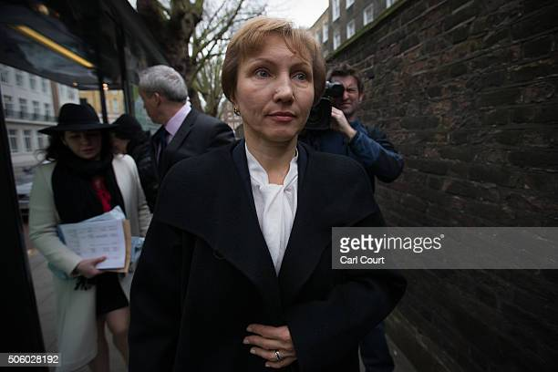 Marina Litvinenko arrives to attend a press conference at her lawyer's office after receiving the results of the inquiry into the death of her...