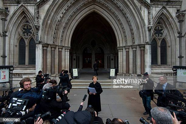 Marina Litvinenko speaks to members of the press outside The High Court after receiving the results of the inquiry into the death of her husband...