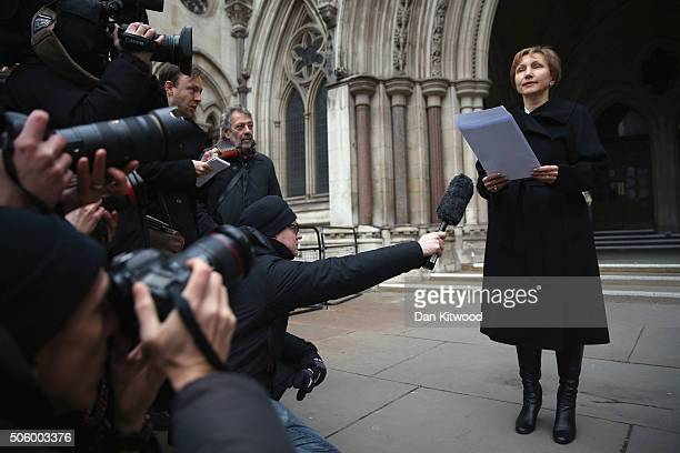 Marina Litvinenko speaks to reporters outside The High Court after receiving the results of the inquiry into the death of her husband Alexander...