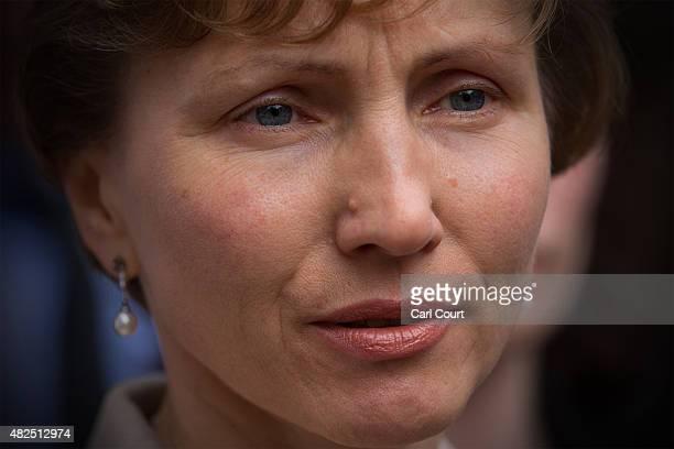Marina Litvinenko the widow of Alexander Litvinenko addresss the media outside the High Court on July 31 2015 in London England Mrs Litvinenko spoke...