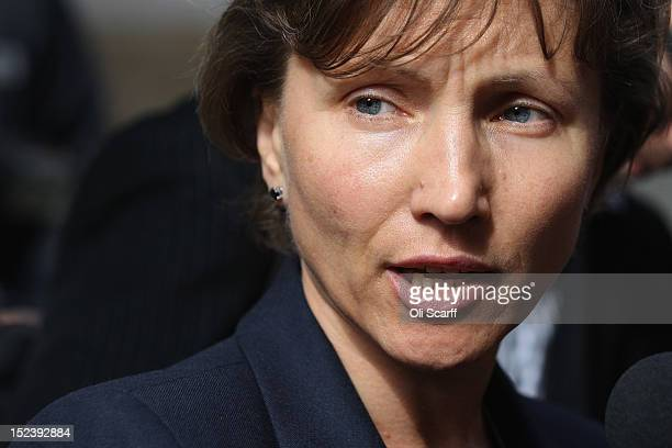 Marina Litvinenko the widow of exRussian spy Alexander Litvinenko addresses the media following a preinquest review hearing on September 20 2012 in...