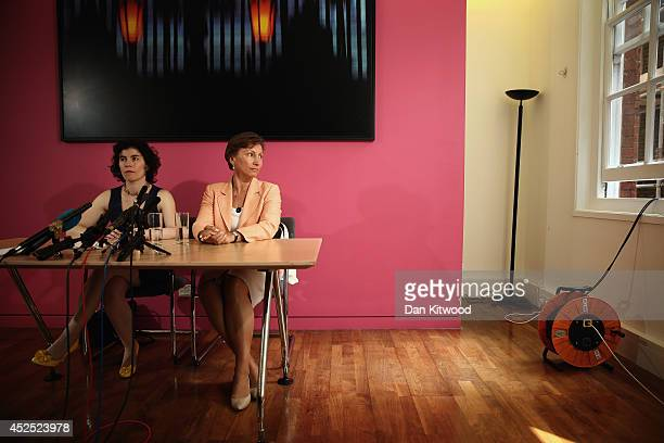 Marina Litvinenko waits to answer questions from the media during a press conference on July 22, 2014 in London, England. The UK Home Secretary...