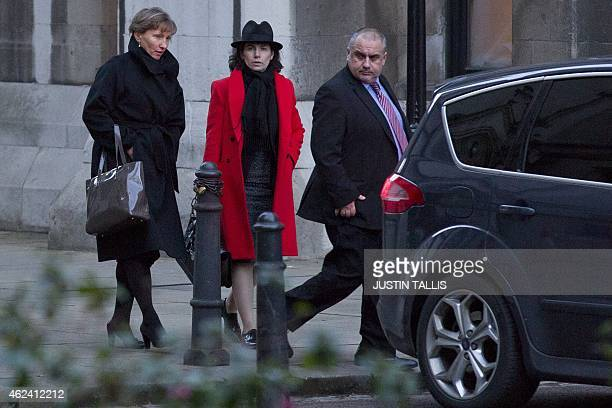 Marina Litvinenko widow of Russian former spy Alexander Litvinenko and her solicitor Elena Tsirlina leave the Royal Courts of Justice in London on...