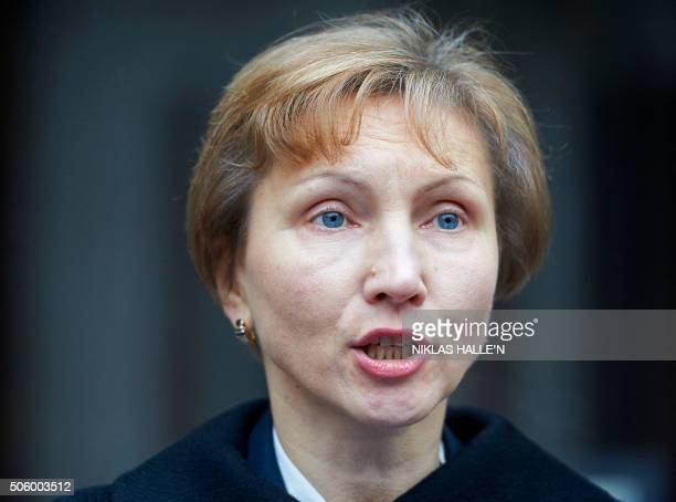 Marina Litvinenko widow of Russian former spy Alexander Litvinenko addresses journalists outside the Royal Courts of Justice in central London on...