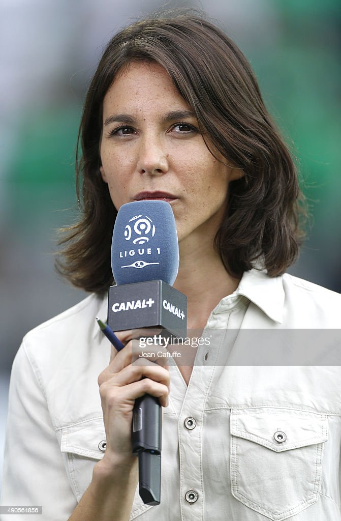 Marina Lorenzo of Canal Plus comments the French Ligue 1 match between AS Saint-Etienne (ASSE) and FC Girondins de Bordeaux at Stade Geoffroy-Guichard on August 15, 2015 in Saint-Etienne, France.