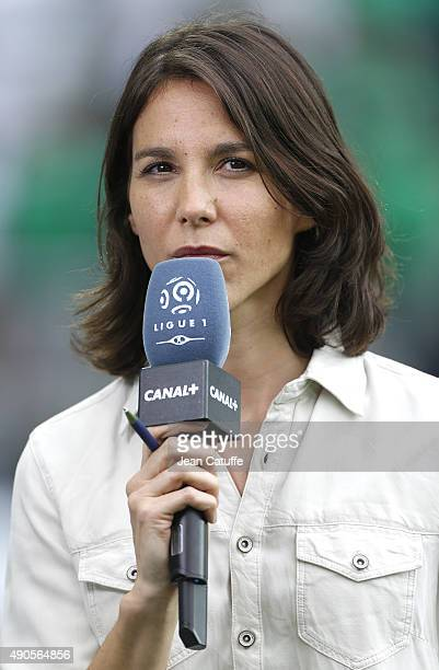 Marina Lorenzo of Canal Plus comments the French Ligue 1 match between AS Saint-Etienne and FC Girondins de Bordeaux at Stade Geoffroy-Guichard on...
