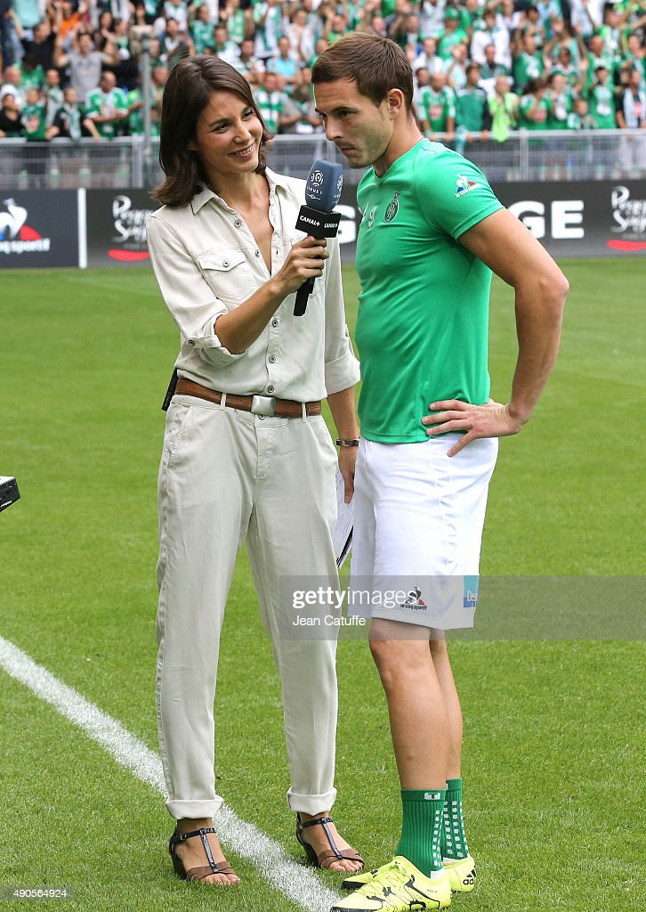 Marina Lorenzo of Canal Plus interviews Nolan Roux of Saint-Etienne during the French Ligue 1 match between AS Saint-Etienne (ASSE) and FC Girondins de Bordeaux at Stade Geoffroy-Guichard on August 15, 2015 in Saint-Etienne, France.