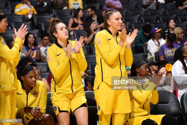Marina Mabrey and Maria Vadeeva of the Los Angeles Sparks clap during the game against the Atlanta Dream on September 3 2019 at the Staples Center in...