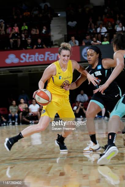 Marina Mabrey of Los Angeles Sparks handles the ball against the New York Liberty on July 20 2019 at the Westchester County Center in White Plains...