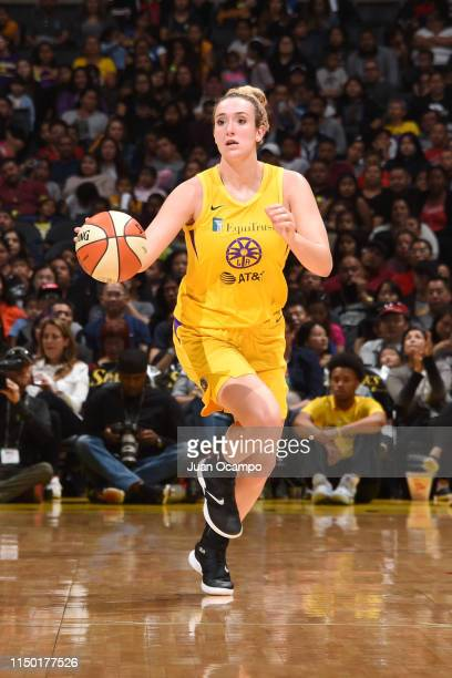 Marina Mabrey of the Los Angeles Sparks dribbles up court against the New York Liberty on June 15 2019 at the Staples Center in Los Angeles...